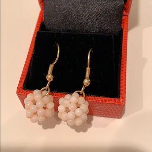 Beautiful pink pearl 👂 earrings gold NEW